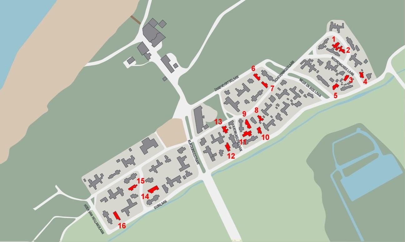 Kijkduin-plattegrond-Duiker woningen -  landhuis leigedekt