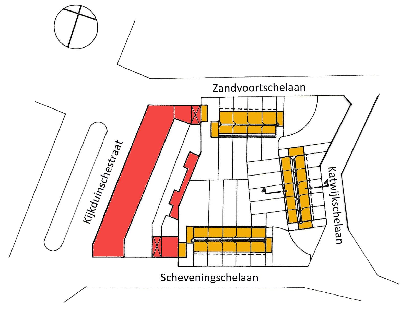 situatieschets - 14 woningen Kijkduin - Ontwerp J. Duiker